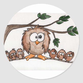 The Owl Family Classic Round Sticker