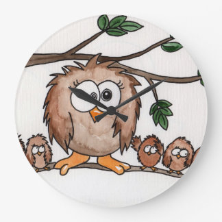 The Owl Family Large Clock