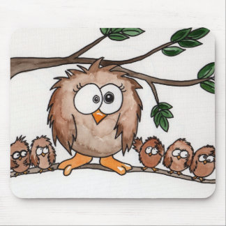 The Owl Family Mouse Pad