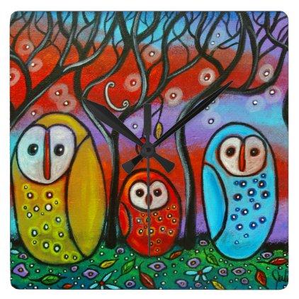 The Owl Family Wall Clock