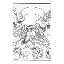 The owl in fight with other birds by Albrecht Dure Stationery