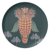 The Owl of wisdom and flowers Melamine Plate