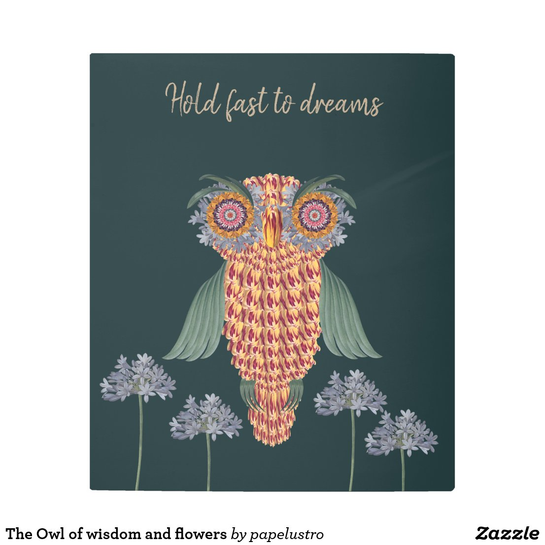 The Owl of wisdom and flowers Metal Print