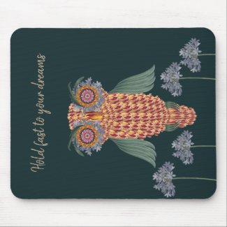 The Owl of wisdom and flowers Mouse Pad