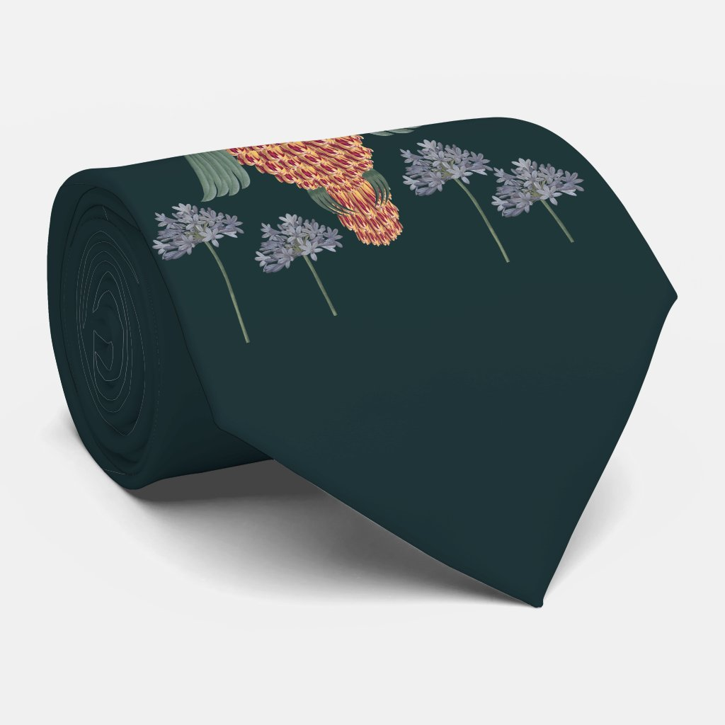 The Owl of wisdom and flowers Neck Tie