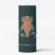The Owl of wisdom and flowers Pillar Candle
