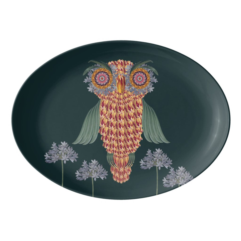 The Owl of wisdom and flowers Porcelain Serving Platter
