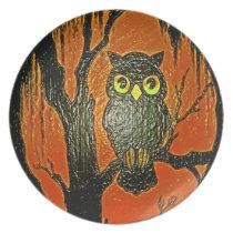 THE OWL ORANGE PLATE