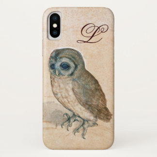 THE OWL , PIink ,Sepia Monogram iPhone X Case