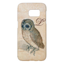 THE OWL , Pink ,Sepia Monogram Samsung Galaxy S7 Case
