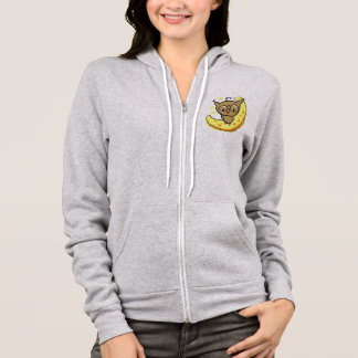 the owl sits on the moon hoodie
