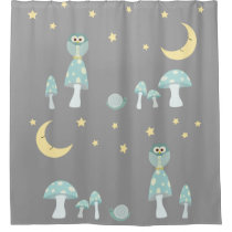 The Owl, The Moon in Frosty Blue and Gray Shower Curtain
