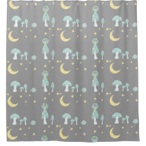 The Owl, The Moon in Frosty Blue & Gray Small Shower Curtain