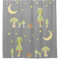 The Owl, The Moon in Greens & Gray Shower Curtain