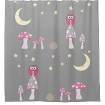 The Owl, The Moon in Pink and Gray Shower Curtain