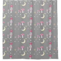 The Owl, The Moon in Pinks & Gray Tiled Shower Curtain