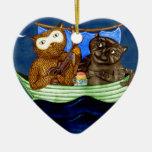 The Owl & The Pussycat Ceramic Ornament