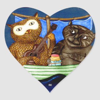 The Owl & The Pussycat Heart Sticker