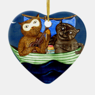 The Owl & The Pussycat Double-Sided Heart Ceramic Christmas Ornament