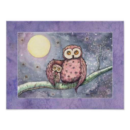 The Owls and the Moon Print