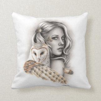 The Owls Girl Spiritual Throw Pillow