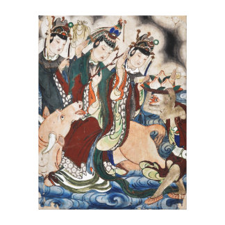 The Ox Figure of the Chinese Zodiac Wall Painting Canvas Print