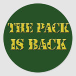 the pack is back cheese text classic round sticker