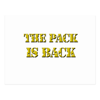 the pack is back cheese text postcard