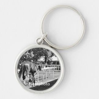 The Paddock at Belmont Park Silver-Colored Round Keychain