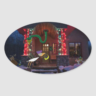 The padle forest agents christmas party oval sticker