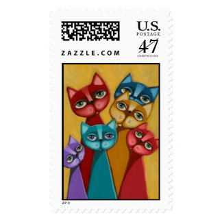 The painted cat family postage