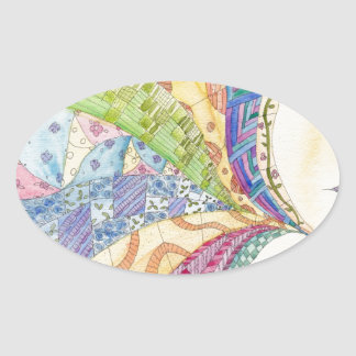 The Painted Quilt Oval Sticker