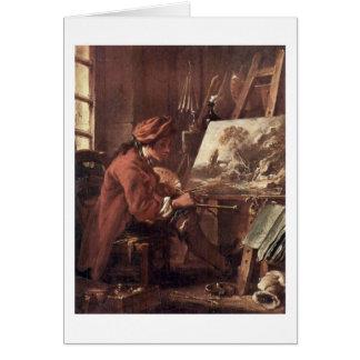 The Painter In His Studio Self-Portrait Card