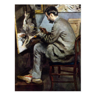 The painter in the studio of Bazille by Renoir Postcard