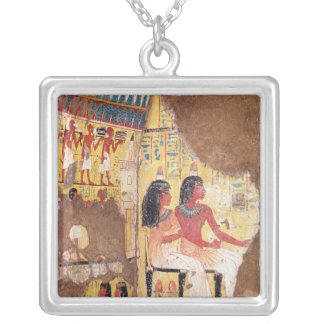 The painter Maie and his wife seated Silver Plated Necklace