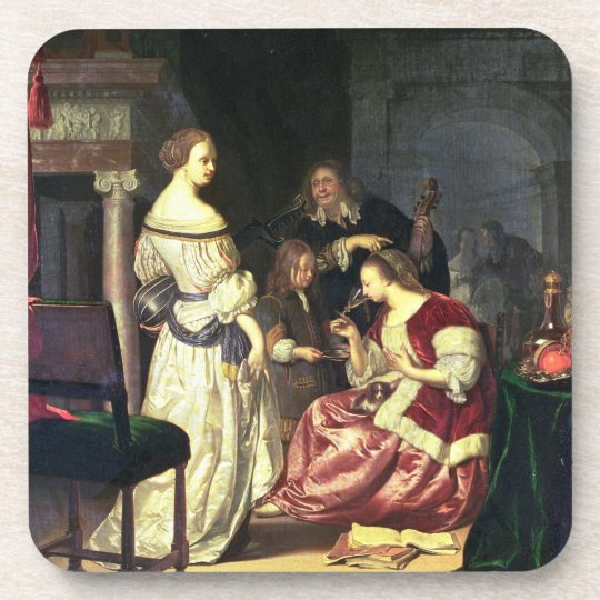 The Painter with his Family, 1675 (oil on panel) Coaster