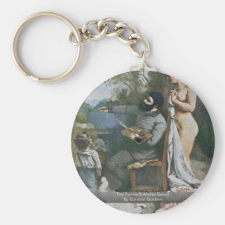 The Painter'S Atelier Detail By Courbet Gustave Basic Round Button Keychain
