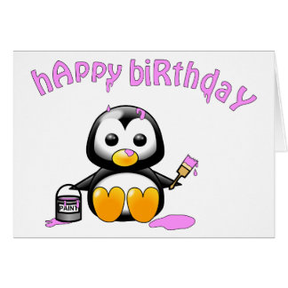 The Painting Penguin Pink Brithday Card
