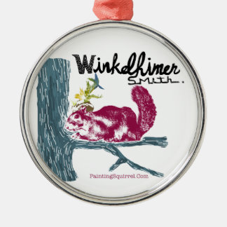 The Painting Squirrel,Winkelhimer Smith Round Metal Christmas Ornament