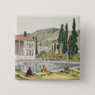 The Palace and Gardens of Ashref, Persia, plate 80 Pinback Button