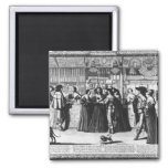 The Palace Gallery, engraved by Le Blond 2 Inch Square Magnet