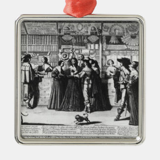 The Palace Gallery, engraved by Le Blond Square Metal Christmas Ornament