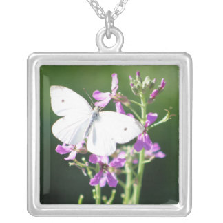 The Pale One Butterfly Photography Square Pendant Necklace