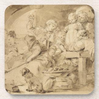 The Pancake Maker by Jean-Honore Fragonard Drink Coasters