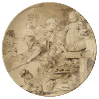 The Pancake Maker by Jean-Honore Fragonard Porcelain Plates