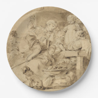 The Pancake Maker by Jean-Honore Fragonard 9 Inch Paper Plate
