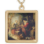 The Pancake Seller, 1650-55 (oil on panel) Square Pendant Necklace
