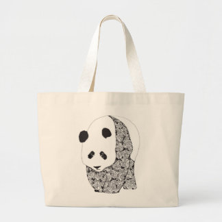 The Panda With The Roses Large Tote Bag