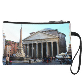 The Pantheon and its famous square in Rome, Italy Suede Wristlet Wallet