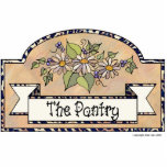 """&quot;The Pantry&quot; - Decorative Sign Statuette<br><div class=""""desc"""">&quot;The Pantry&quot; door sign. Beige background with floral decoration by Jean Hall</div>"""